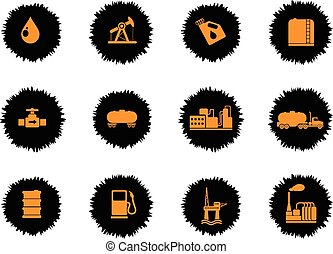 Oil and petrol industry objects icons