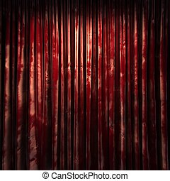 Cortina, veludo, vermelho, fase