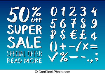 Numbers 0-9 written with a brush on a blue background lettering. Super Sale. Big sale. Sale tag. Sale poster. Sale vector. Super Sale and special offer. 50% off. Vector illustration.