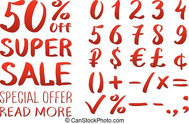 Numbers 0-9 written with a brush on a white background lettering. Super Sale. Big sale. Sale tag. Sale poster. Sale vector. Super Sale and special offer. 50% off. Vector illustration.
