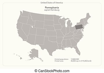 pennsylvania - United States of America isolated map and...