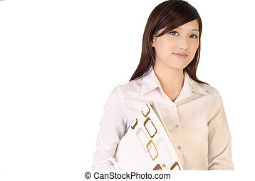 Successful business woman portrait of Asian with file...