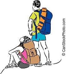 Turistas, Ilustración,