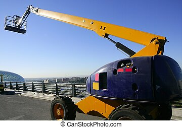 Car little hydraulic crane in blue and yellow colors