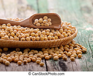 Soy beans in a basket on wooden