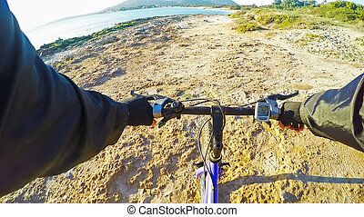 mountain bike by the shore