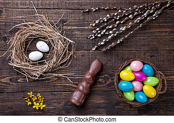 Easter eggs on a wooden background - Traditional Easter eggs...