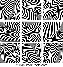 Op art patterns set - Abstract op art patterns set Vector...