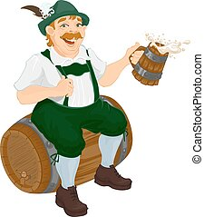 Bavarian man oktoberfest - Bavarian fat man celebrating...