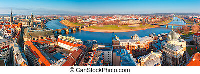 Panorama of Old town and Elbe, Dresden, Germany - Aerial...