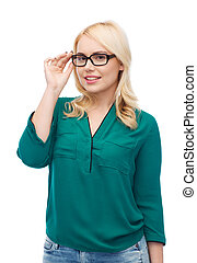 smiling young woman with eyeglasses
