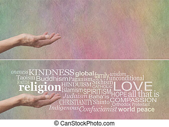 KINDNESS is the No 1 religion - Female palm up hand with the...