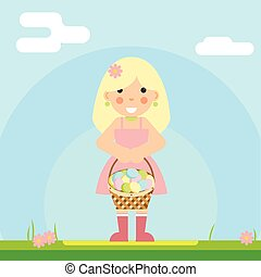 happy girl with basket of Easter eggs sky background is an...