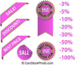 Pink sale tags with discount
