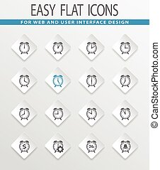 Alarm clock icon set - Alarm clock easy flat web icons for...