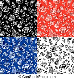 Bandana Seamless Pattern - Seamless bandana pattern in 4...