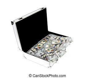 maleta, de, dinero, con, cien, dólar, en, blanco,...