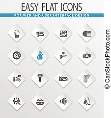 Car shop icons set - Car shop easy flat web icons for user...