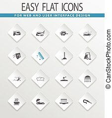 Car wash shower service icons set - Car wash easy flat web...