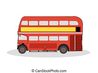 red london bus - vintage red london bus illustration on...