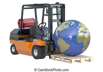 Global logistics, shipping and worldwide delivery business concept, forklift truck with globe