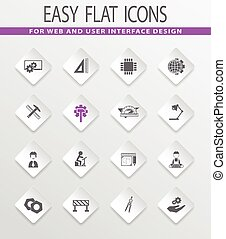 Engineering icons set - Engineering easy flat web icons for...