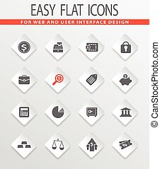 finance icons set - finance easy flat web icons for user...