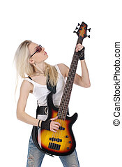 Cute girl playing guitar - Young blond woman playing on the...