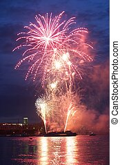 Fireworks - Spectacular display of firework over water