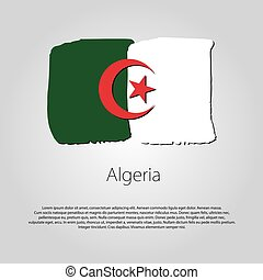 Algeria Flag with colored hand drawn lines in Vector Format