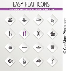 Food and kitchen icons set - Food and kitchen easy flat web...