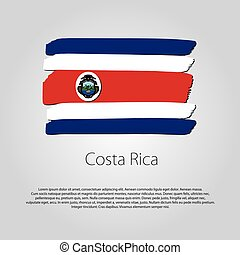 Costa Rica Flag with colored hand drawn lines in Vector...