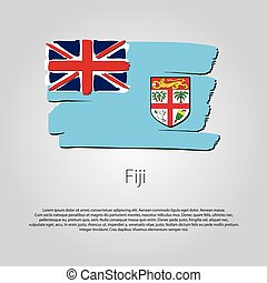 Fiji Flag with colored hand drawn lines in Vector Format