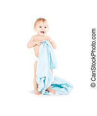 baby with blue towel - picture of baby boy with blue towel...