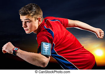 Teen runner ready to run with smart app. - Close up portrait...