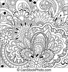 zen doodle flowers, herb and mandalas - Hand drawn decorated...