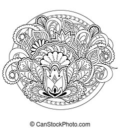 doodle flowers, herb and mandalas - Hand drawn decorated...
