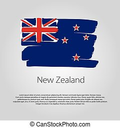 New Zealand Flag with colored hand drawn lines in Vector...