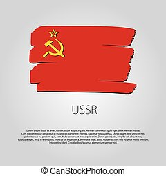USSR Flag with colored hand drawn lines in Vector Format