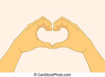 Hands making a heart shape. Vector