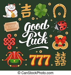 Good Luck - Set of Lucky Charms, Symbols and Talismans...