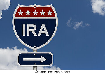 American IRA Highway Road Sign, Red, White and Blue American...