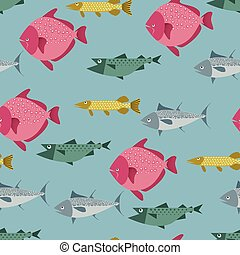 Seamless pattern with river and sea fishes - pike, tuna,...
