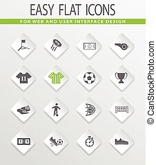Soccer icons set - Soccer easy flat web icons for user...