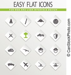 Military and war icons set - Military and war easy flat web...