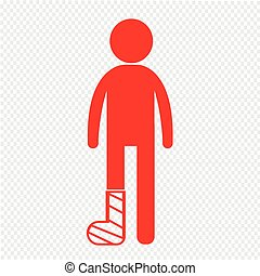 People Broken Arm and Leg Icon Illustration design