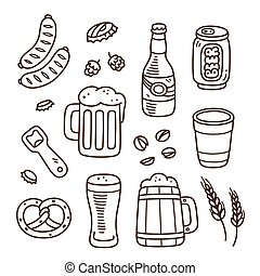 Hand drawn beer doodles - Set of beer related doodles. Hand...
