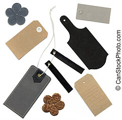 Set of various grungy aged and new paper and leather tags of various shapes, isolated