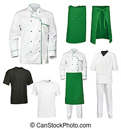 The set of white and green chef cook's clothes