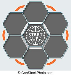 Set of seven hexagons for your text and start up symbol